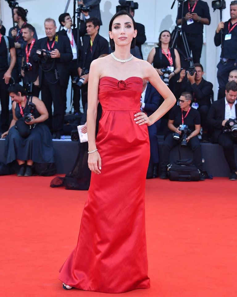 Francesca Rocco wearing Moschino by Jeremy Scott on the red carpet at the 76th Venice International Film Festival