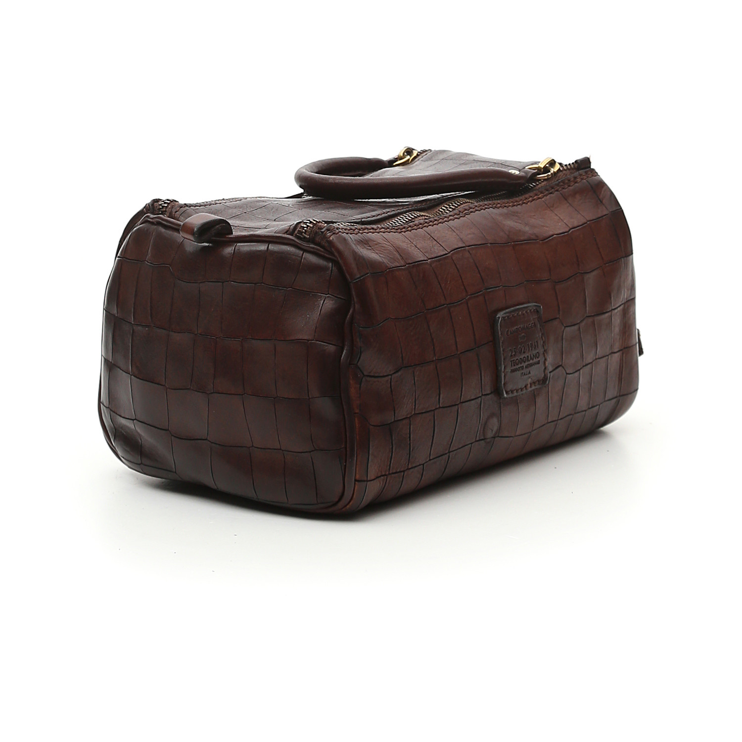 toiletry bag in brown leather