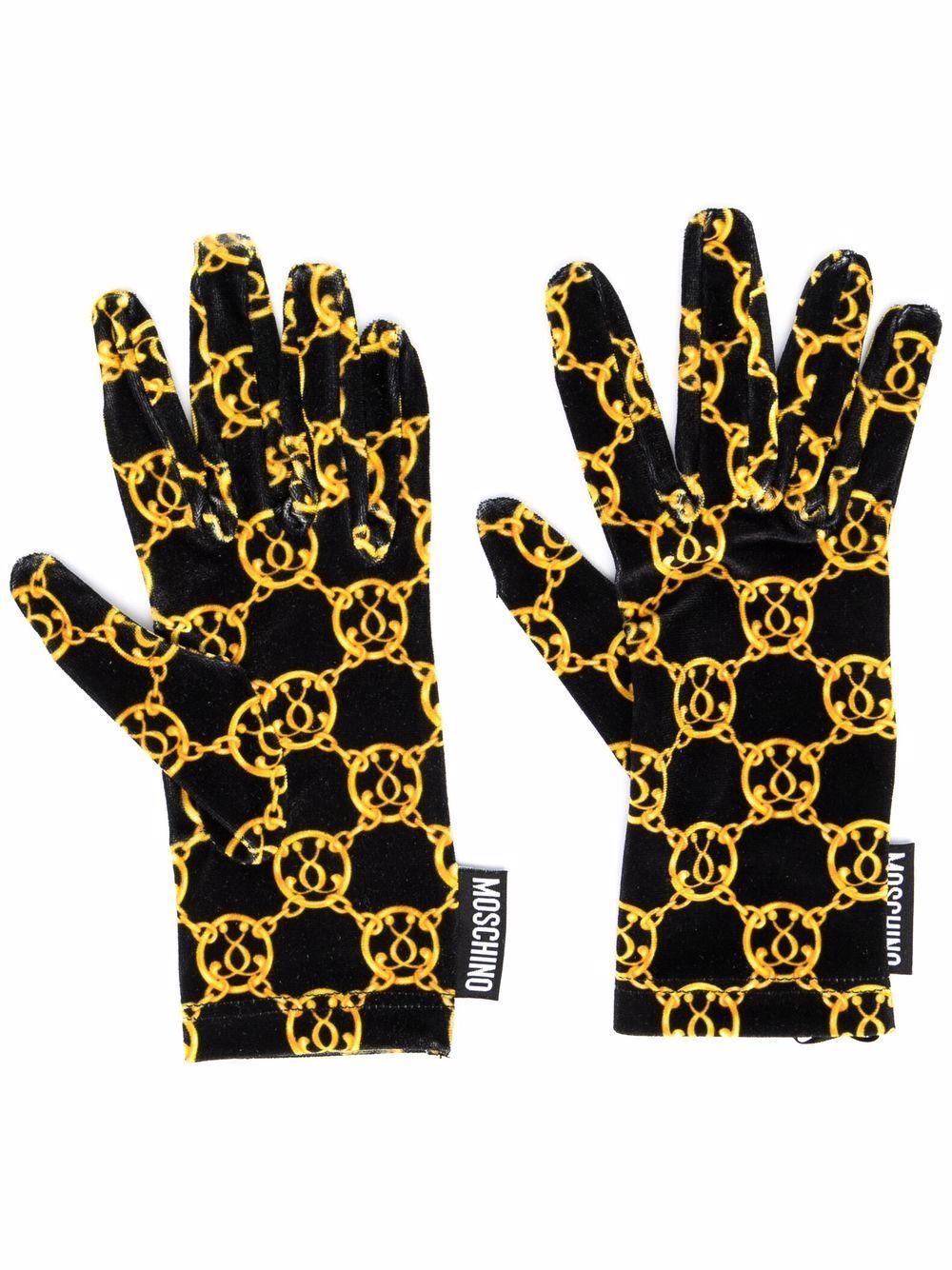 monogram-print gloves MOSCHINO