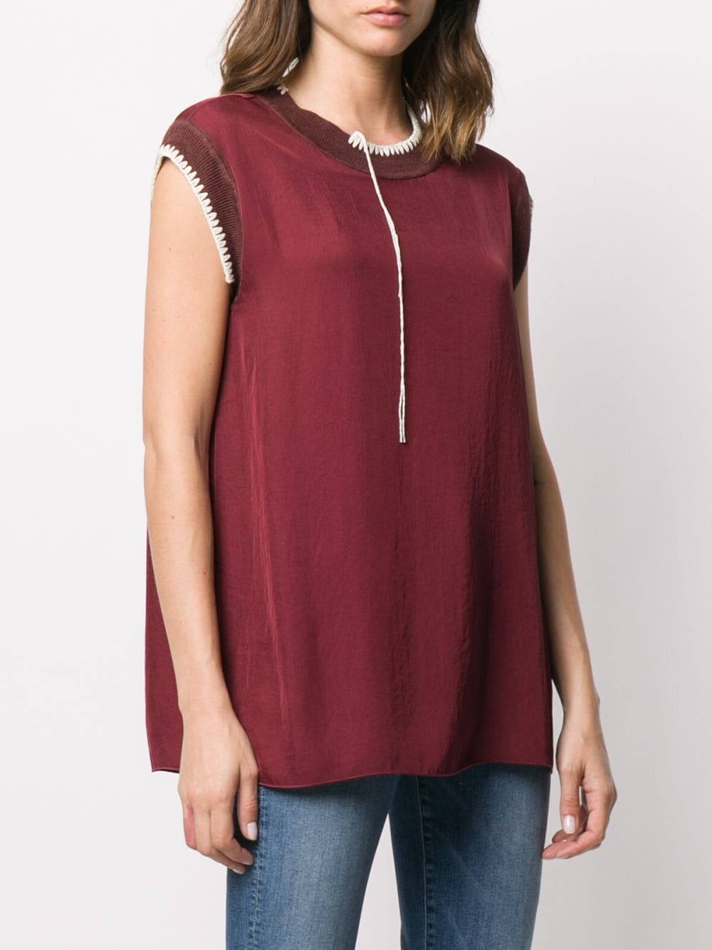 Bo Washed contrast-stitching blouse