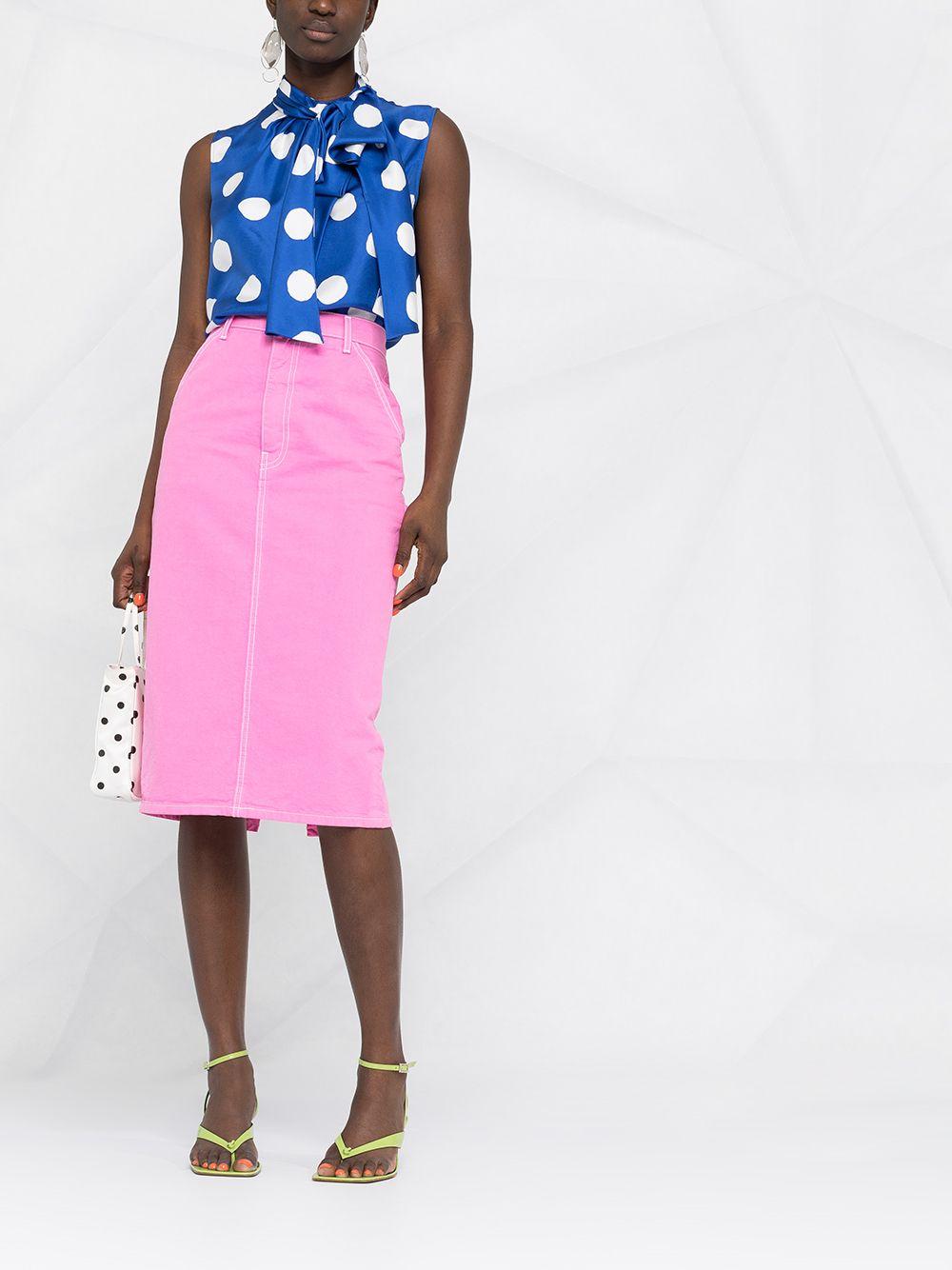 polka dot sleeveless blouse