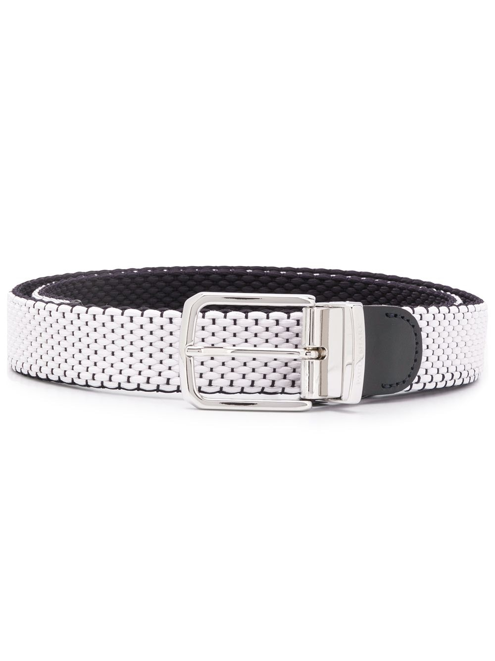White and navy woven belt from Paul & Shark featuring leather trims, a woven design, a silver-tone buckle fastening and an adjustable fit
