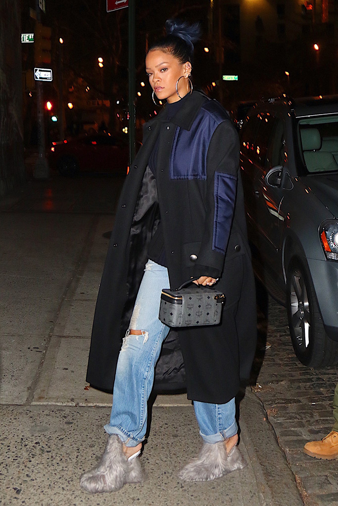 rihanna wearing faux fur mules